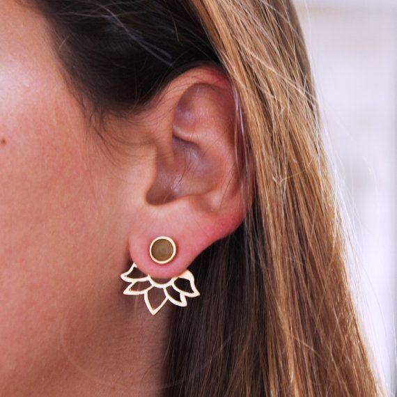 Ear jackets orange sapphire, sapphire earrings, gold earrings, gemstone,earrings