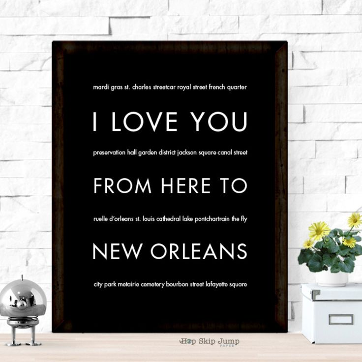 Whether you spent a wild Mardi Gras in this Louisiana city or have family memories here never forget those memories with this unique modern art poster. This typography print makes a great going away g
