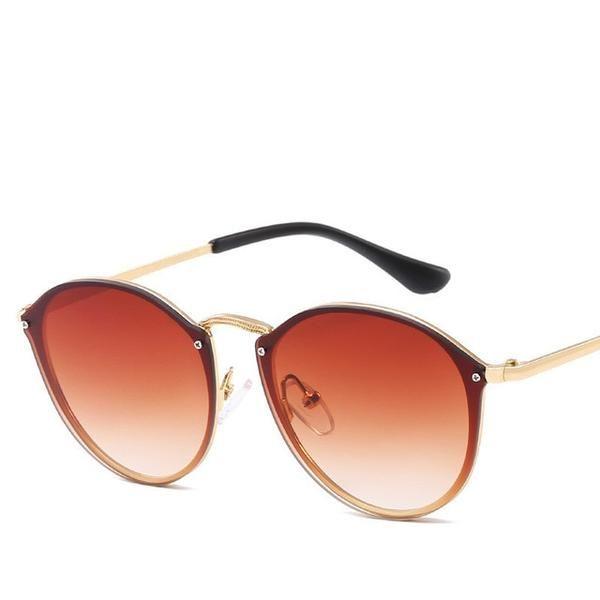813b9ade10d 2019 Luxury Round Sunglasses Women Brand Designer CatEye Retro Rimless -  sheheonline