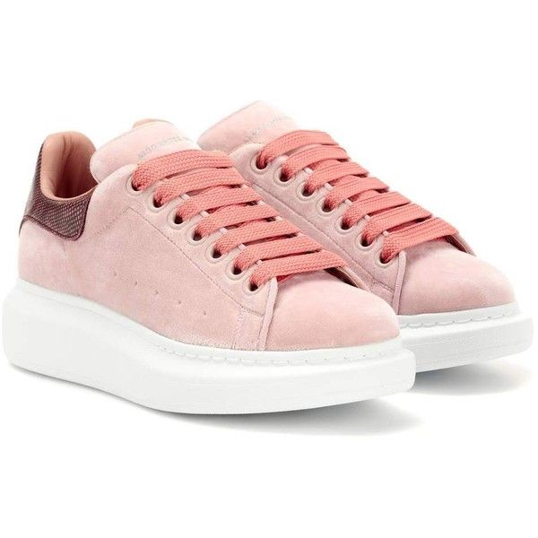 Alexander McQueen Snakeskin-Trimmed Velvet Sneakers ($480) ❤ liked on Polyvore featuring shoes, sneakers, pink, pink sneakers, alexander mcqueen sneakers, alexander mcqueen shoes, alexander mcqueen trainers and pink shoes