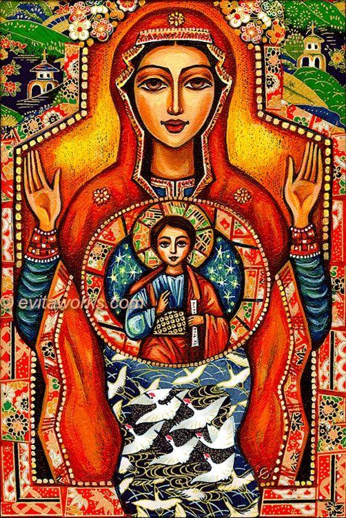 Our Lady of the Sign Religious Icon Folk Art Icon nagyon szép Jézus Szűz Mária méhébe lakott 9 hónapig