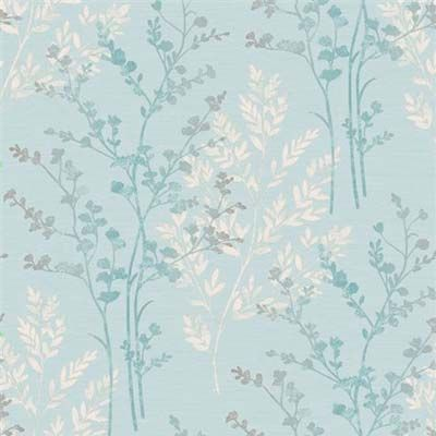 Feature wall wallpaper for the lounge - Teal Fern Motif Wallpaper by Arthouse