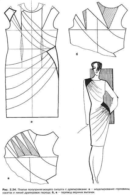 modelagem de vestido com drapeados no colo e cintura.