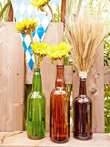 Oktoberfest: Cheap Trick! You finished with that? Use empty beer bottles as vases for wheat straws or flowers.