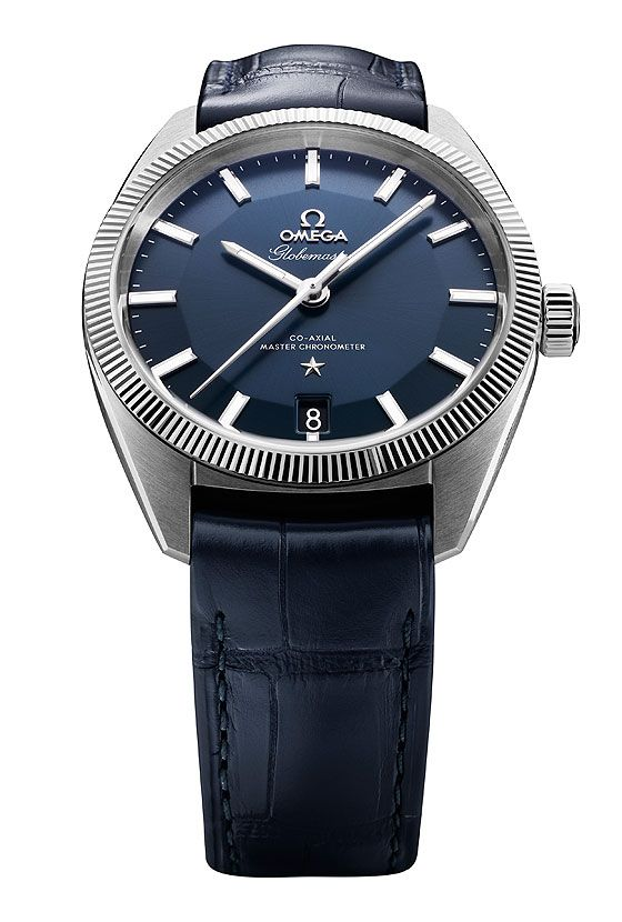 The @omegawatches Globemaster holds Omega's Caliber 8900 (shown with blue sunbrushed dial/39 mm steel case). #omega #watchtime #baselworld2015