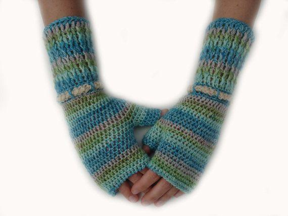Fingerless gloves mittens arm warmers crochet blue green by Mriya