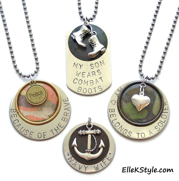 Personalized Hand-stamped MILITARY Pendants - Jewelry