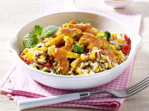 Currygeschnetzeltes auf Gemüsereis Rezept   LECKER