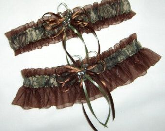 Deer Hunting Camouflage Wedding Toss Garter on Turquoise Blue