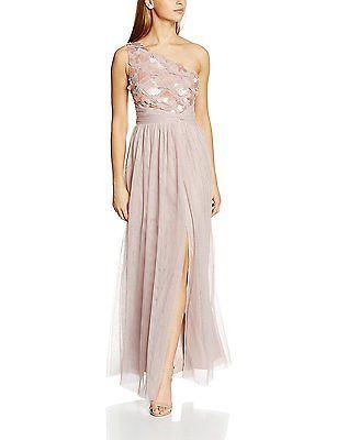 16, Pink (Mink), Little Mistress Women's One Shoulder with Tulle Skirt Dress NEW