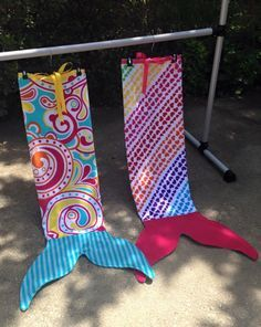 Mermaid Tail Beach Towels! I made these from children's beach towels!