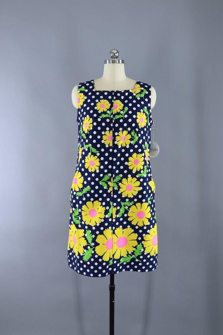 Vintage 1960s Navy Blue Polka Dots Mod Floral Print Shift Dress  #vintage #shopvintage
