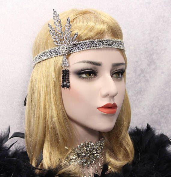 Great Gatsby Headpiece Flapper Headband roaring 20s Bridal