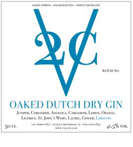 Our Oaked Dutch Dry Gin Label. The light touch gives this gin its beautiful oak colour and flavour, suggesting a hint of the orient. We recommend our Oaked Gin on the rocks or with Fever-tree tonic water.