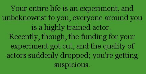 Your entire life is an experiment, and unbeknownst to you, everyone around you is a highly trained actor. Recently, though, the funding for your experiment got cut, and the quality of actors suddenly dropped. You're getting suspicious.