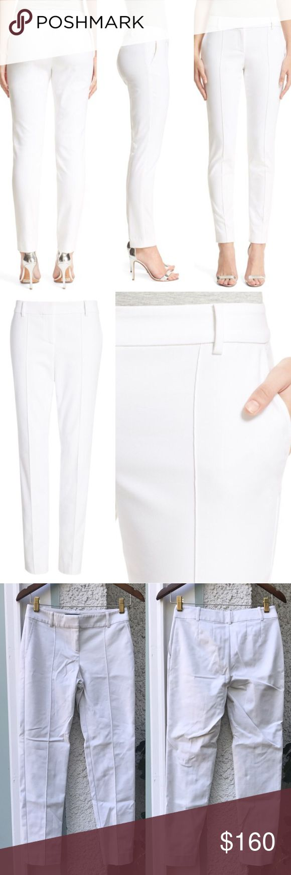 """St. John Collection Jennifer Stretch Ankle Pants St. John Collection """"Jennifer"""" Stretch Micro Ottoman Ankle Pants in """"Bianco"""". Excellent practically new condition with no flaws. Still available at Nordstrom and department stores for $495. Size 2, waist 14.5"""", hips 17.5"""", rise 7.5"""", inseam 28.5"""". Measurements are approximate and with the pants laid flat. St. John Collection Pants Ankle & Cropped"""