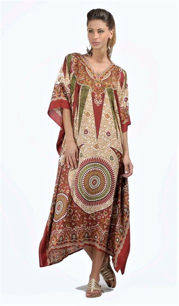 7aa0bf0c4d Kushi Free Size Kaftan Tunic Holiday Dress Beach Cover up fits 141618202224  #fashion #clothing