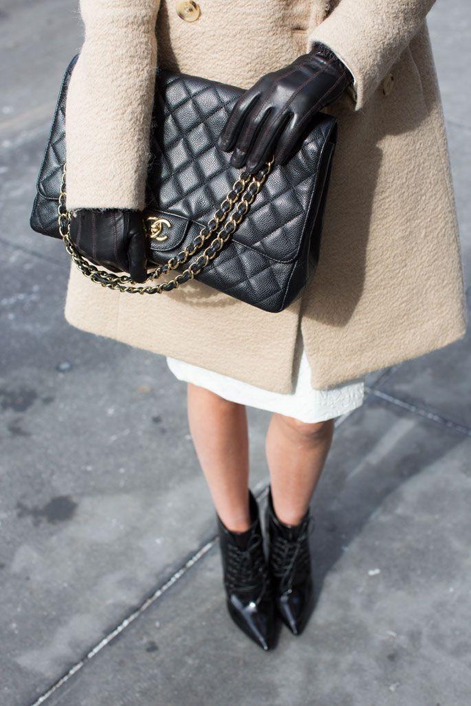 Chanel bag, black booties...