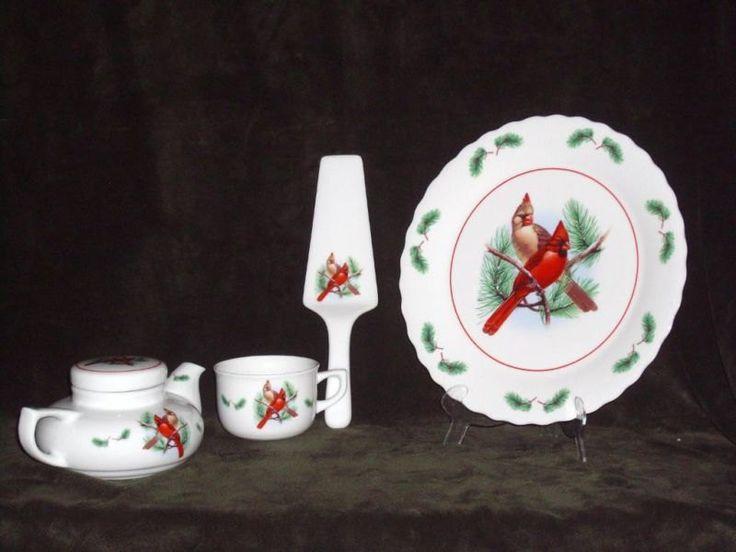 Vintage Avon Plate, Avon Tea Set, Avon Cake Set, Vintage Platter, Vintage Collectible Cardinals, Vintage Avon Teapot, Avon Cardinal Set by HeyJudeCollection on Etsy