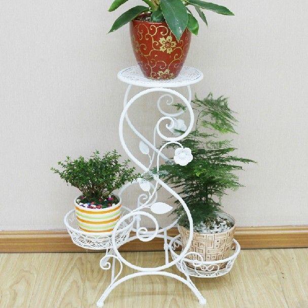 Free shipping European Balcony flower pot tray iron stable multi-layer white flower pot holder flower pot stand shelf pergolas
