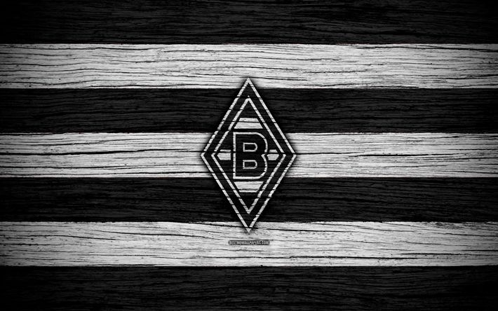 Download wallpapers Borussia Monchengladbach, 4k, Bundesliga, logo, Germany, wooden texture, FC Borussia Monchengladbach, soccer, football, Borussia Monchengladbach FC