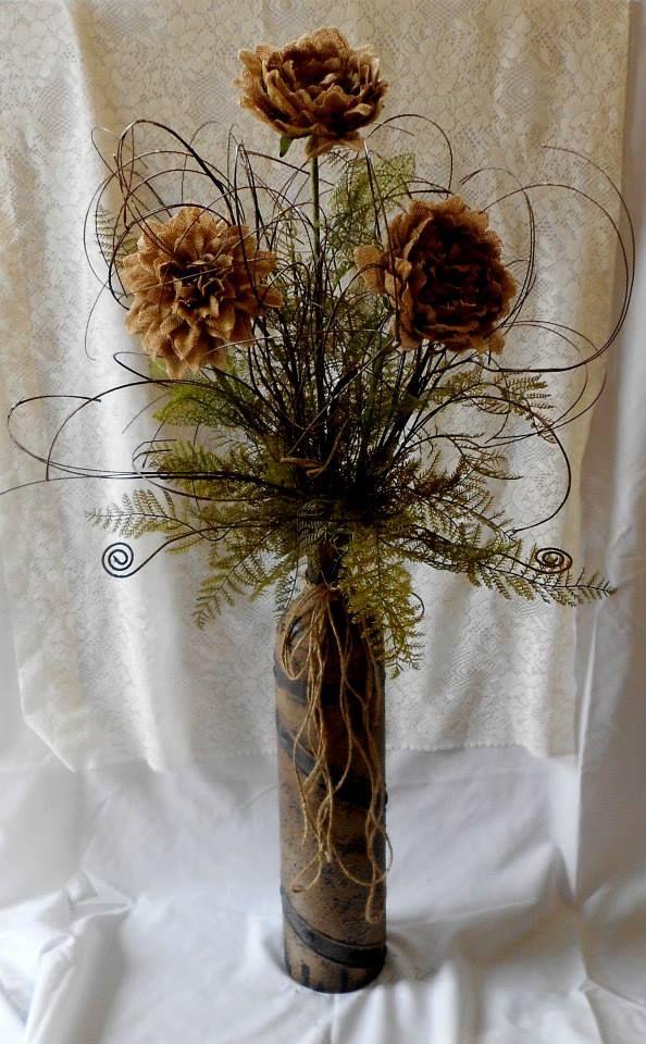 Burlap Flower Arrangement from Love & Lace