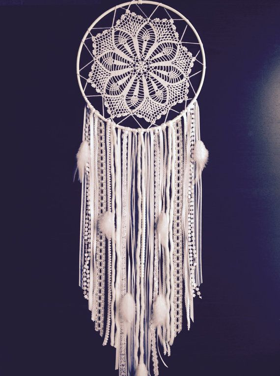Large White Doily Dream Catcher / Handmade by somemightcallitcrazy