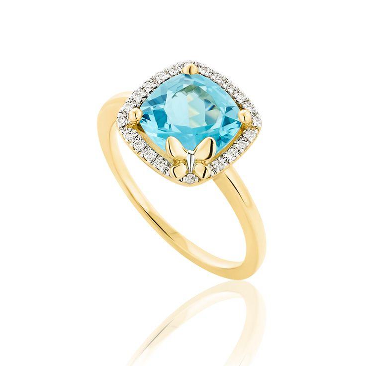 Δαχτυλίδι Diamonds Collection από χρυσό 18K με μπριγιάν 0.09ct VS F/G και blue swiss topaz 1.09ct