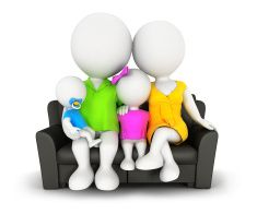 3d white people family sitting on sofa stock photo
