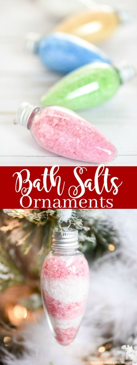DIY Bath Salts Ornaments – these peppermint scented bath salts in Christmas light ornaments make a great handmade gift idea for under $5!