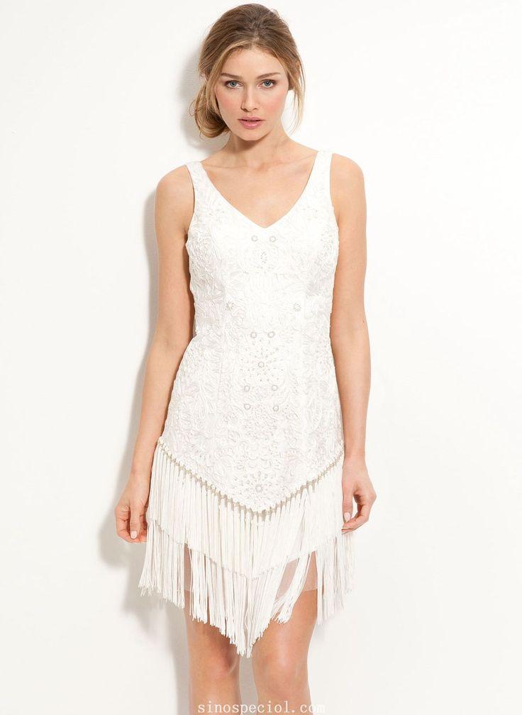 Appealing White Sheath/Column Straps Neckline Mini Cocktail Dress