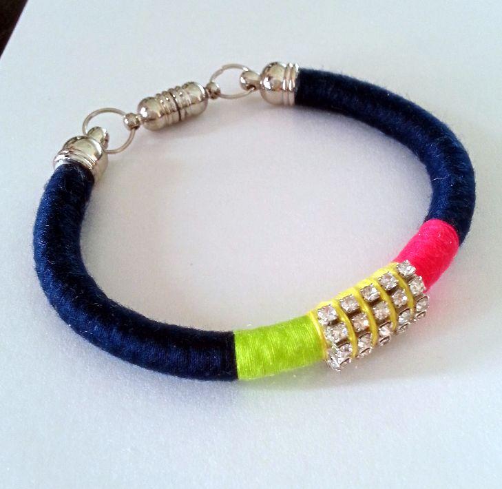 Navy Blue, Fuschia and Green Bracelet with Half Ring Rhinestone