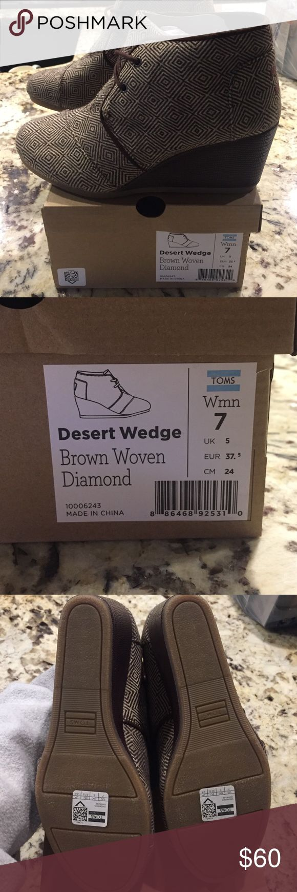 TOMS Desert Wedge Brown Woven Diamond NWOT. Never worn. I have these in other colors, and they are the most comfortable wedges! TOMS Shoes Wedges