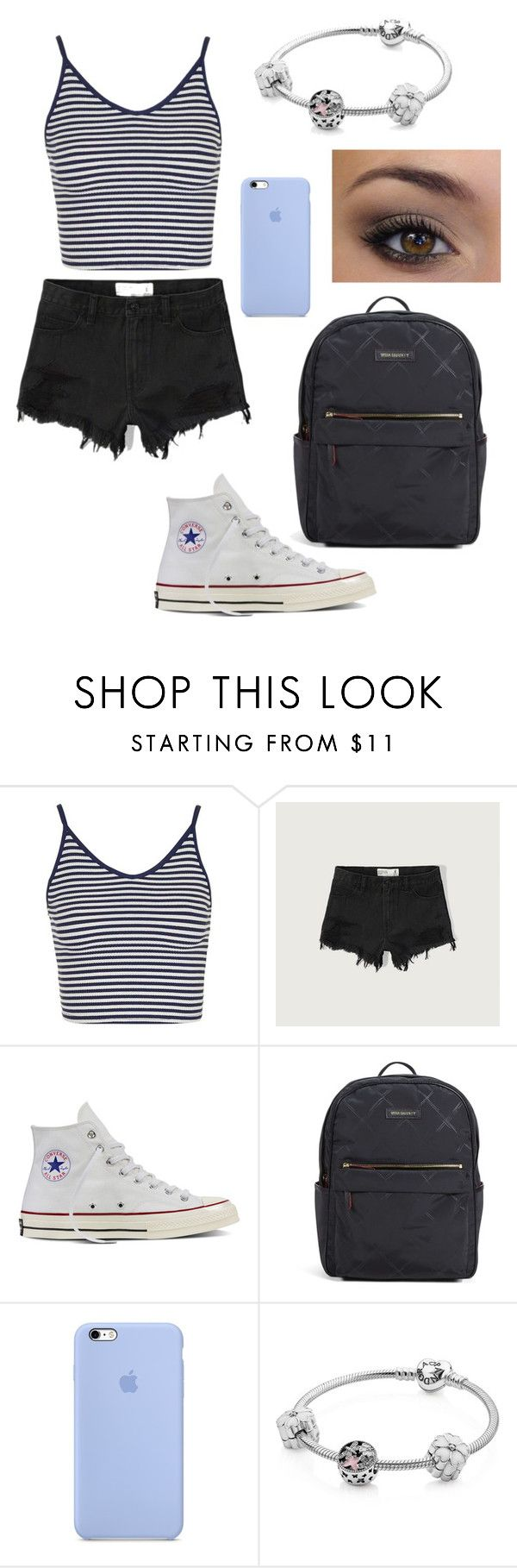 """""""cute school outfit"""" by fashionblogger2122 on Polyvore featuring Topshop, Abercrombie & Fitch, Converse, Vera Bradley and Pandora"""