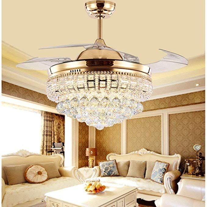 Lighting Groups 42 Inch Crystal Invisible Ceiling Fan With Light 4 Retractable Blades Fan C Ceiling Fan With Light Dining Room Ceiling Fan Ceiling Fan Bedroom