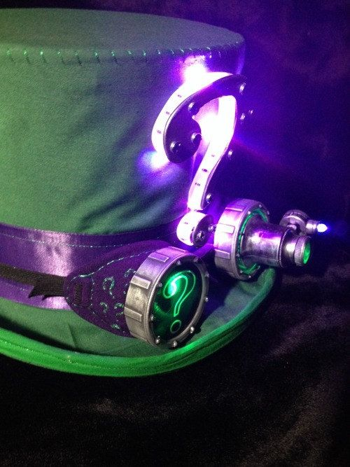 SET of Riddler Inspired Steampunk Props - Top hat Goggles Respirator Cane #steampunkhat