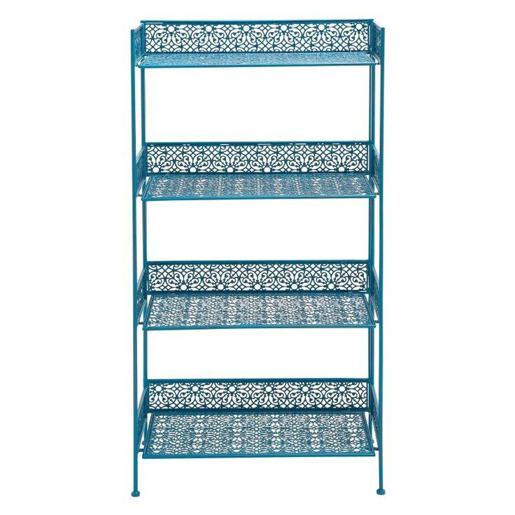 DecMode 4 Shelf Contemporary Bakers Rack Blue - 96982
