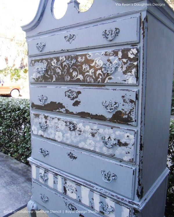 Stenciled Dresser by Ole and Inga | Chalk Paint® and Small Scrollallover Stencil by Royal Design Studio