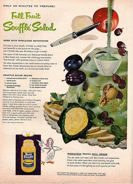 Here's a seasonal souffle salad.  ou start with a lime Jell-O base and then add walnuts, grapes and mayonnaise. Garnish with more mayo on top.