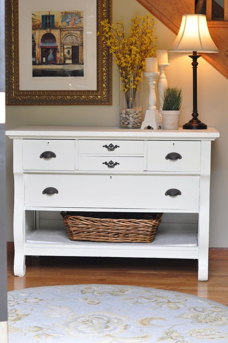 paint a dresser; take out bottom drawer, add basket, & convert to foyer table