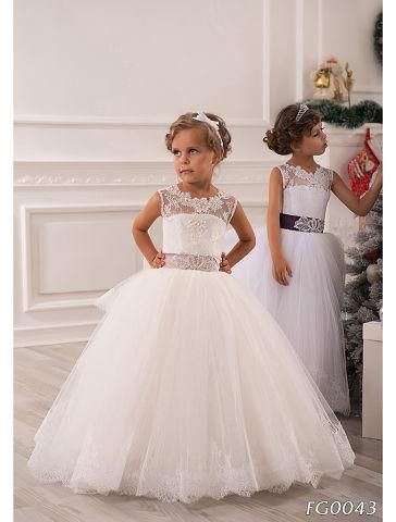 2015 Summer Flower Girl Dresses For Weddings Ball Gown Princess Floor Length White Lace Tulle Appliques Toddler Party Dresses Pageant Gowns from Olesa,$71.21 | DHgate.com