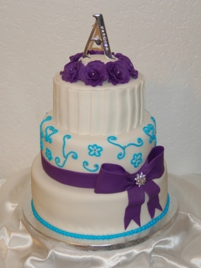 Purple and Turquoise Wedding cake! By ShastaLove on CakeCentral.com: Cakes Ideas, Turquoise Cakes, Purple Turquoise, Turquoi Wedding, Aqua Cake, Turquoise Weddings, Turquoise Wedding Cakes, Purple Wedding Cakes, Vows Renewals