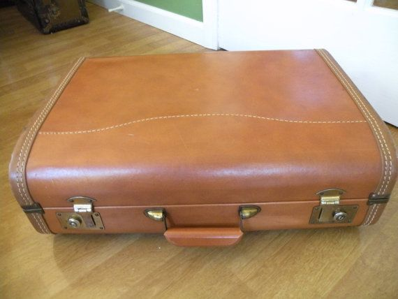 Small brown suitcase overnite  case  Leather by Traincasesandmore