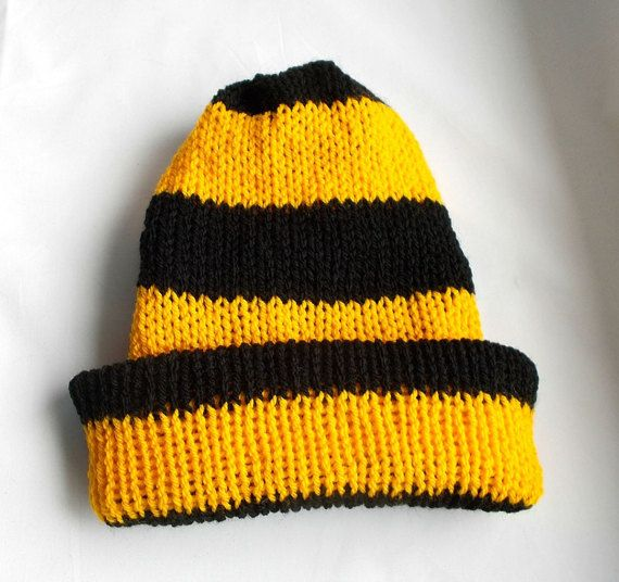 Knitted beanie hat, Reversible beanie, Man's knitted hats, Men's winter hat, Mens beanie's, Black and Yellow, Stripe Mens Hat, Bee colors