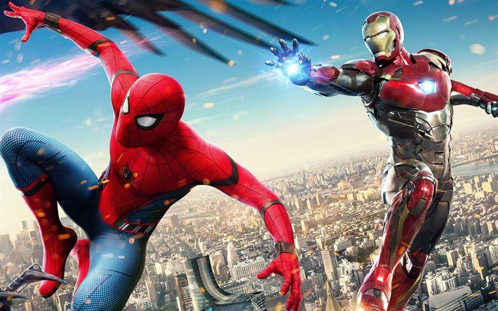 Lataa kuva Spider-Man Kotiinpaluu, 2017, Iron Man, Spiderman, juliste, uusia elokuvia