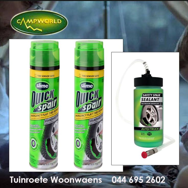 At Tuinroete Woonwaens you can find everything you would need in case of an emergency while on a camping trip, even tyre care products like this Quick Spair Tyre Repair Formula. #outdoorliving #camping #emergencyproducts