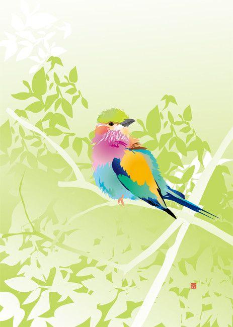 イラストは、ライラックニシブッポウソウ。アフリカ南部(サハラ以南)、およびアラビア半島に生息し、ボツワナの国鳥となっている。ブッポウソウ目ブッポウソウ科に分類... ハンドメイド、手作り、手仕事品の通販・販売・購入ならCreema。