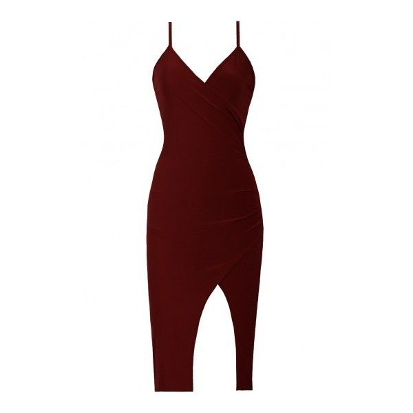 Chrissy Dress Wine ($78) ❤ liked on Polyvore featuring dresses, vestidos, short dresses, v neck mini dress, open back dresses, mini dress, red dress and red asymmetrical dress