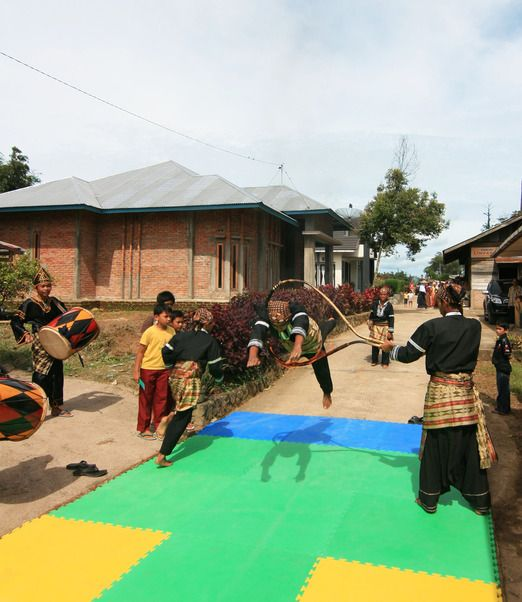 Cultural performance by kids in Sanjay Village, Bukittinggi.  It is now a tourist village with eco tourism activities in...