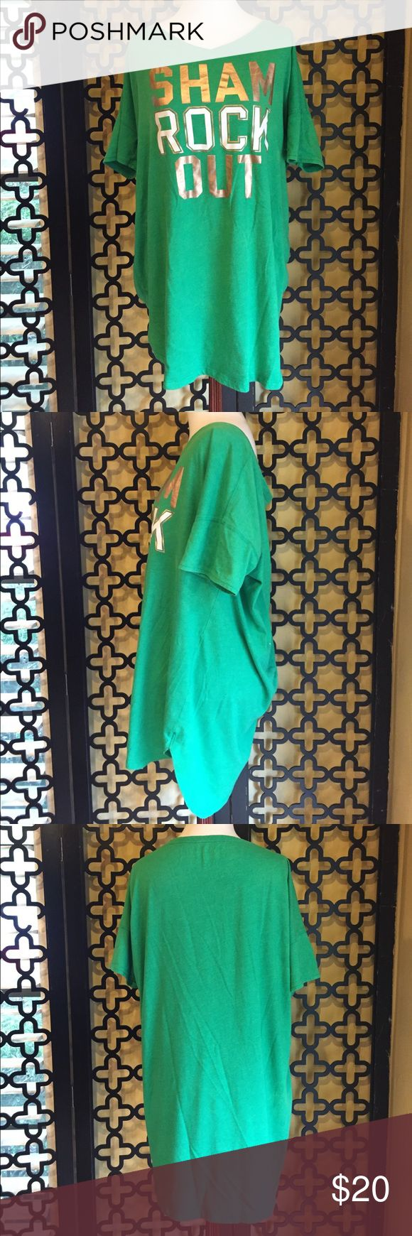 VS SHAM ROCK OUT/ ST PATTYS DAY TOP EUC! No rips or stains. Perfect for Saint Patrick's day! Looks great with white shorts! Gorgeous v-neck line. Measurements: 36in long, 12in sleeve length and 44in bust. Victoria's Secret Tops Tees - Short Sleeve